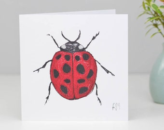 Ladybird Greetings Card - Ladybug card - Birthday card - Love Bug - Insect card - Blank inside - Card for Boys - Card for Springwatch