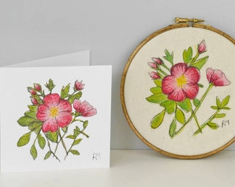 Dog Rose Embroidered in Hoop with Matching Card