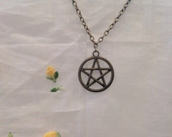 Bronze Pentagram Chain Necklace