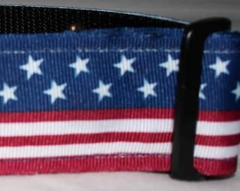 "1.5"" Patriotic Red, White and Blue Collar with Side Release Buckle (Martingale Option Available)"