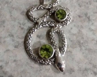 Snake - Peridot Pendant Necklace