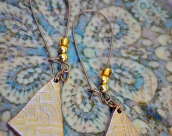 Pending, copper earrings, pearls, gold and amber, copper aged, metal block