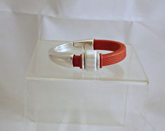 Red Snakeskin Leather Bracelet  with White Ceramic Bead and Silverplate Magnetic Clasp