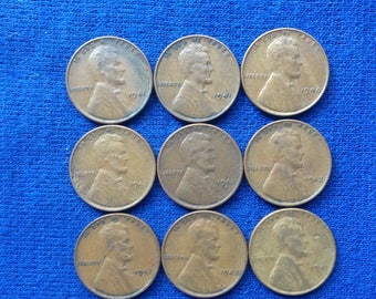 1940-1942  Lincoln Wheat Pennies US Coins Old Coins American Coins Lot of 9