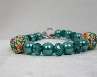 Teal and Green Flower and Pearl Bracelet