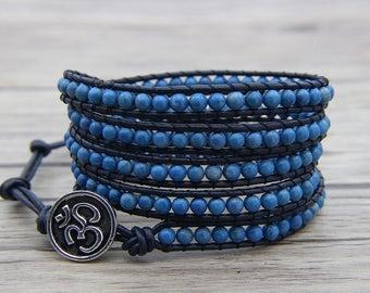 boho bead bracelet Blue Aventurine bracelet BOHO bead wrap bracelet leather wrap bracelet OM Charm bracelet cuff bracelet Jewelry SL-0556