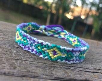 Lavender, Yellow, and Green Diamond Friendship Bracelet
