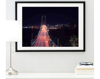 San Francisco Bay Bridge Photo Print #1 | bridge photo | cityscape picture | city skyline photo | california | wall art | 11 sizes