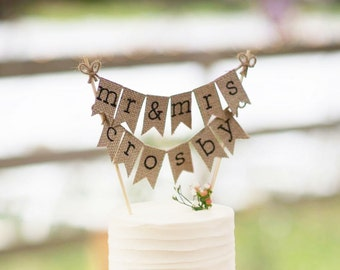Mr and Mrs Last Name Cake Topper, Mr and Mrs Name Cake Topper, Custom Cake Topper, Rustic Wedding Cake Topper, Burlap Cake Topper