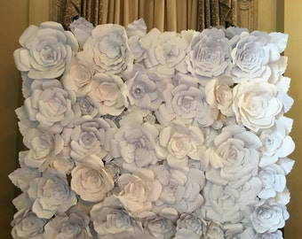 WHITE 8X8 PAPER FLOWER backdrop, paperflower wall, paperflowers