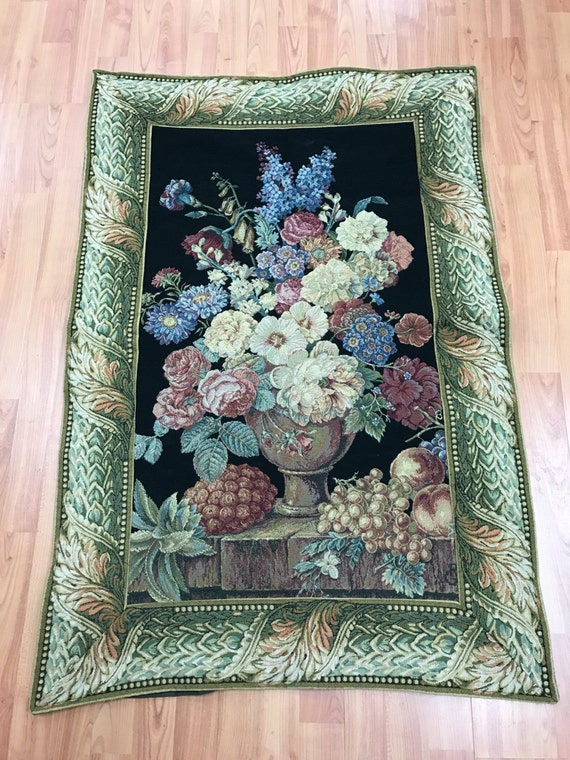 "2'7"" x 3'10"" French Tapestry - Floral Design"