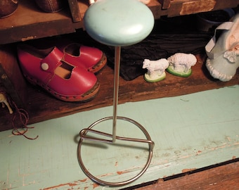 Vintage Hat Display Stand / Blue Wood Metal Hat Stand / Hat Display / Millinery Accessories / Children's Room Decor