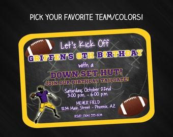 Football Invitation, Football Birthday Invitation, Football Party Invitation, Tailgate Party Invitation, Pick Your Team, Digital Printable