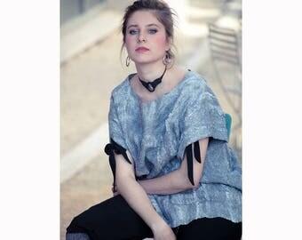 Nuno felted blouse, gray, XL, oversized, silk blouse, nuno felted clothing, shibori dyeing, wearable felt, boho, eco clothing, felted top