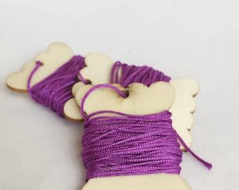 Purple Nylon Cord + Reusable Wooden Spool Tag 3 Yard 1 mm