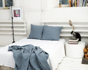 Stone washed grey blue flat linen bed sheet. Twin, double, queen, king, custom sizes.
