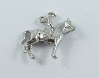 Equestrian Rider and His Horse Sterling Silver Charm or Pendant.