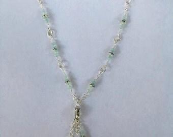 Handmade Genuine Aquamarine Gemstone and Crystal Tassel Choker Necklace Jewelry Genuine Aquamarine necklace Crystal necklace tassle necklace