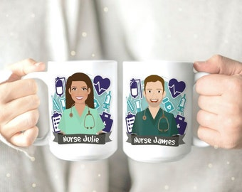 Nurse Appreciation Mug - Nurse Mugs - RN Mug - Registered Nurse Mug - Nursing School Mug - Nurse Gift - Personalized Mug - Cute Coffee Mug