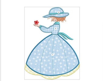 SARAH KAY  APPLIQUE  blue doll machine embroidery download 3 diff sizes (  4x5  5x6  6x7 )