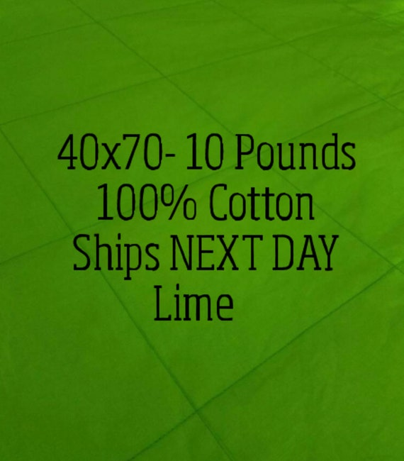 Weighted Blanket, 10 Pound, Lime, Green 40x70, READY TO SHIP, Twin Size, Adult Weighted Blanket, Next Business Day To Ship