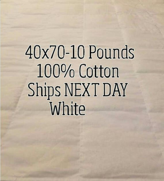 Weighted Blanket, 10 Pound, White, 40x70, READY TO SHIP, Twin Size, Adult Weighted Blanket, Next Business Day To Ship