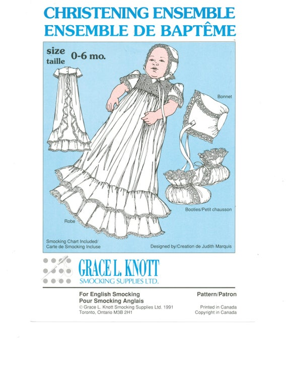 Four Piece Christening Ensemble, Grace L. Knott, french heirloom, lace.
