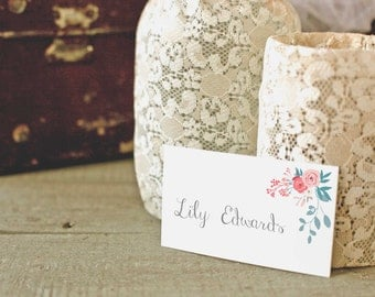 Floral personalised place cards, place names, name cards DIY, Customized Table cards, Grey wedding decor, printable PDF