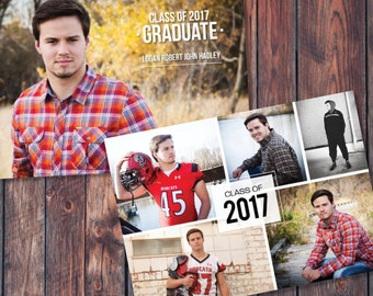 Senior Graduation Announcement Template Grad Invite Printable Graduation Photo Card Graduation Party Invitations Photo Collage Boy or Girl