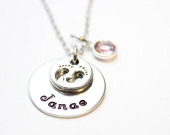 baby footprint name necklace, baby footprint necklace, name necklace, mothers name necklace, baby name and footprint necklace, name jewelry