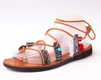 GREEK LEATHER SANDAL bocho,bocho sandal,hand made sandal,gift for girl,gift for women,birthday gift,summer gift,made greece,leather calf