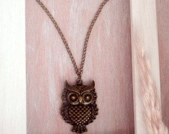 Ancient bronze chain OWL - Boho set Neckglass
