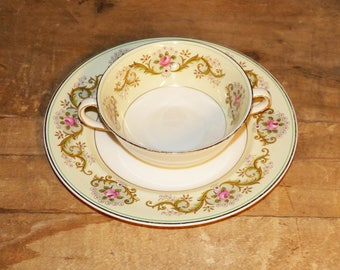 Johnson Brothers Pareek Two Handle  Soup Bowl and Saucer / cup and saucer  - 1121
