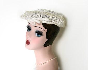 Vintage Ivory Lace Mini Saucer Hat~ Circa 1950's