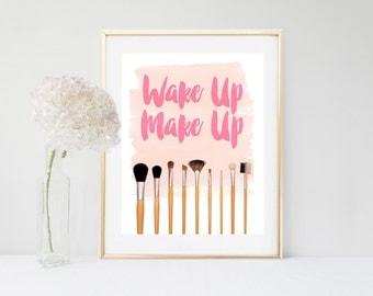Make Up Print, Dorm Decor, Printable Art, Make Up Brush Print, Girls Wall Art, Wall Decor, Digital Download