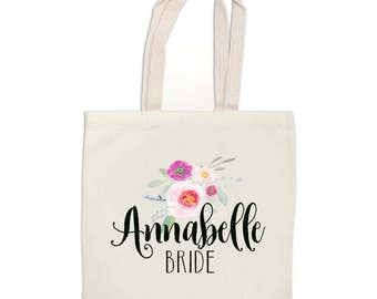 Set of Bridesmaids Tote Bags - Custom Wedding Totes - Bride Tote Bag - Bachelorette Party - Bridal Party Gift - Canvas Tote Bag