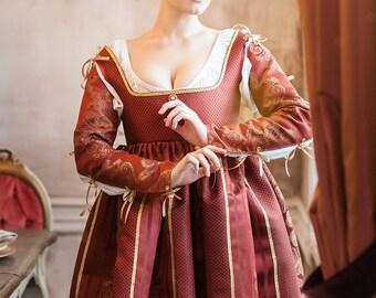 Renaissance red woman dress Italian fashion 15th beginning 16th century, Europe