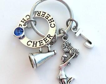 Cheer Keychain Cheerleading Key Chain, Gift for Cheerleader Keyring, Megaphone Jewelry initial birthstone birthday present circle charm Girl