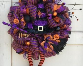Halloween wreath,Witch wreath, Witch leg wreath,Witch hat wreath,Purple and orange wreath,Halloween decor,Halloween wreaths,Purple Halloween