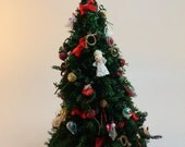 Dollhouse Miniature Handmade Christmas Tree Decorated with Angels, Ribbon & Glitter Ornaments (1/12 Scale)