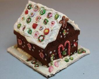 Dollhouse Miniature Handmade Clay Christmas Gingerbread House (1/12 Scale)