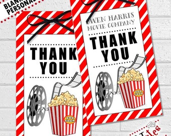 Movie Night Party Tags, Movie Night Thank You, Movie Party Favor Tags, Teacher Movie Gift, Oscar Party Favor Tags, Movie Labels | PRINTABLE