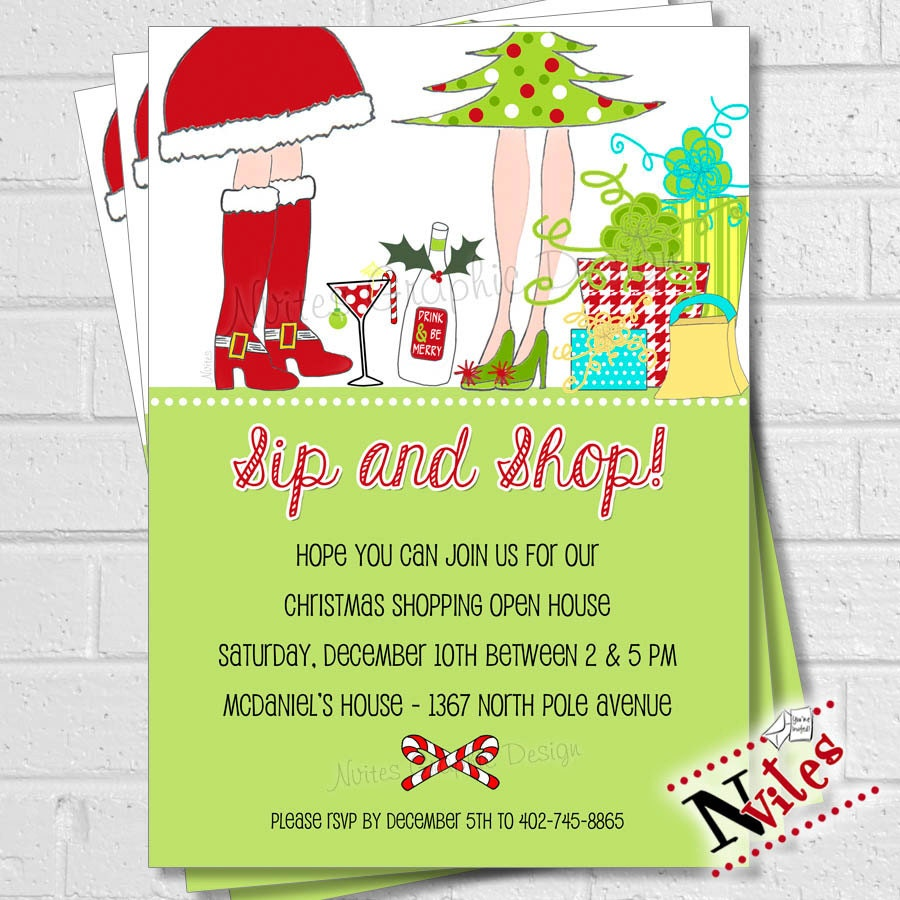 Holiday Shopping Invitation, Sip & Shop, Holiday Open House, Girls ...