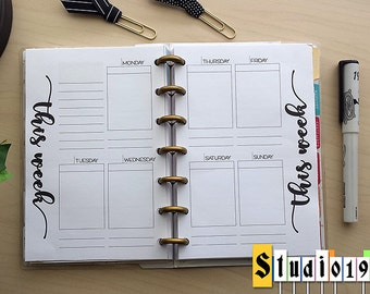 PRINTABLE WO2P undated weekly insert for Mini Happy Planner; Week on 2 pages; fits Erin Condren stickers; box planner