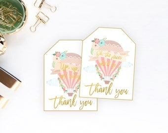 Hot Air Balloon Favor Tags, Up up and Away, Places She'll Go Baby Shower, First Birthday, Printable, Pink, Baby Shower, Thank You Tags