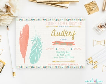 Wild One Birthday Invitation, Wild One Party, First Birthday, Boho Invitation, Tribal Invitation, Coral Mint, Printable, Twin, Boho, 1st