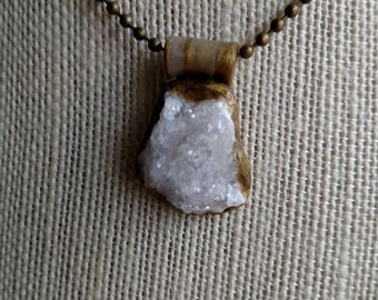Druzy Quartz Necklace - Copper Necklace
