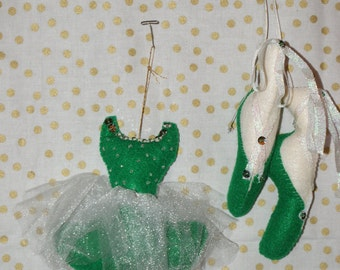 handcrafted 2 pc. felt balliet slippers and tutu ornament set **SALE** was 15.00