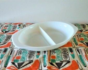 Pyrex Opal Divided Baking Dish, Cinderella 1.5 Quart Casserole, 1950's White Pyrex Dish Series 1063