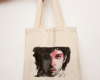 Prince Tote bag, Music lovers shopping Bag, Vegan shoulder bag, White tote, canvas tote bag, Market Bag, Prince fans Fashion, 80's fashion